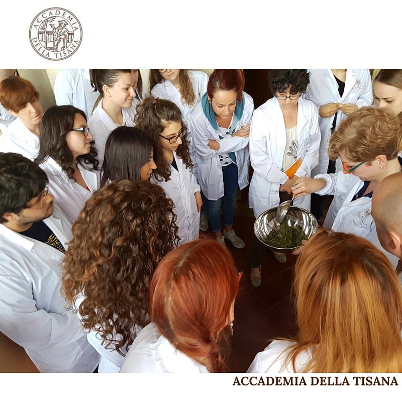 LA TISANA IL CORSO DI FORMAZIONE SULLA LIBERA MISCELAZIONE DELLE PIANTE OFFICINALI foto di gruppo con docente